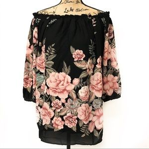 Lulu's Off Shoulder Black Floral Long Sleeve Tunic